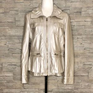 Ness metallic champagne faux-leather jacket